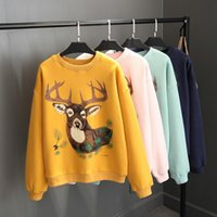 autumn womans clothes - Womens Clothes Deer Printing Hoodies Pullover Sweatshirts Coat Casual Long Sleeve Fleece Hoodies Sweatshirts Womans Tops Autumn Winter New