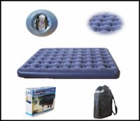 Wholesale Newest Outdoor camping mat series flocked pvc double person beam air bed air mattress inflatable bed Free DHL