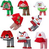 baby boy dress pants - 2016 New Christmas Baby Sets Outfits long sleeve Children Clothes Boy Girls Xmas white sanda reindeer tree dress striped ruffle pants