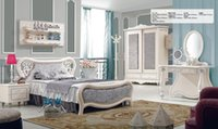Wholesale Brand New Youth kids Teenage Children Luxurious Soild Oak Wood Bed Wardrobe Nightstand Desk Bedroom Furniture Set