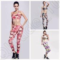 Wholesale LJJJ125 Summer Women Printed Yoga Outfit Vest bra Pants Set Tight Fitness Running Clothes Sports Suits New SET
