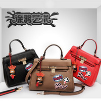 bag making patterns - New Arrival Women Shoulder bags Funny graffiti Pattern Made by PU leather Women s Leather Handbags Black Brown Red Leather bags