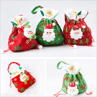 Wholesale Christmas Candy Bags Santa Claus Gift Bags Christmas Tree Xmas Bag Snow Man Sack Stocking Treat Pocket Christmas Decoration Supplies B1071