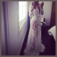 Wholesale Hot Summer European Style Womens Sexy Lace Embroidery Maxi Solid White And Black Dress Long Sleeve Deep V Neck Vestidos Plus Size S XL