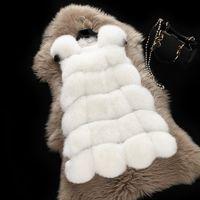 Wholesale New Arrival Winter Warm Fashion Women Import Coat Fur Vest High Quality Faux Fur Coat Fox Fur Long Vest Jacket Plus Size