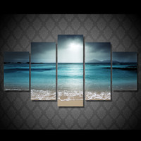 More Panel beach animal pictures - 5 Set No Framed HD Printed beach ocean sea sunset Painting Canvas Print room decor print poster picture canvas abstract paintings
