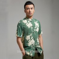 Wholesale New Summer short sleeves kung fu shirt Chinese men s tang suit Casual tops cotton wing chun Blouse apparel clothing for male