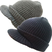 Wholesale Classical Men knit brim caps double layer warm and soft with pu patch double layer thick