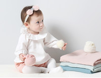 Wholesale Baby cotton T shirt Long sleeve tops Large Lotus Leaf Collar Clothes Baby girls white Ins Shirts Toddler bottoming shirt for T kids