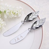 angels favours - 50Pcs Personalized Wedding Favors And Gifts For Guests Stainless Steel Leaf Handle Spreader Butter Knife Customized Favor Wedding Favour
