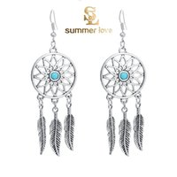 Wholesale New Fashion Style Bohemian Jewelry Vintage Silver Plated Dream Catcher Leaf Shaped Tassel Drop Dangle Earring Gift for Women Girl