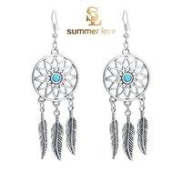 alloy leaf shape - New Fashion Style Bohemian Jewelry Vintage Silver Plated Dream Catcher Leaf Shaped Tassel Drop Dangle Earring Gift for Women Girl