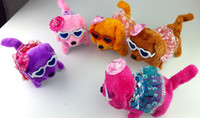Wholesale Wear glasses and wear skirt fluffy plush kid toys giftsdog Electric dog forward back walking