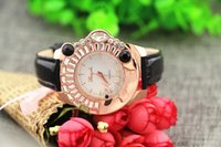 animal watch band - Leather band animal dog crystal on case gold plate case quartz movement Gerryda fashion woman lady quartz crystal watches