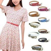 Wholesale Cute Skinny Belts - Brand new 2016 Peach Hearts Women Cute PU Leather Thin Belt Skinny Slender Waistband belt
