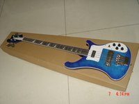 Meilleure guitare de porcelaine 4 cordes Bleu Basses électriques Instruments de musique OEM en stock