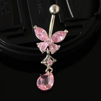 Wholesale Hot Sale CZ BUTTERFLY Dangle belly ring navel piercing barbell body jewelry Fashion Body Jewelry Piercing Navel
