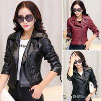 Precio de Leather jackets-La prendas de vestir exteriores de la chaqueta de cuero de la señora de las nuevas mujeres de las llegadas cubre los tamaños de colores cortos coreanos S-2XL DX261 de la manera 2 de la PU que envían libremente
