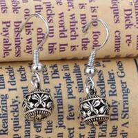 Wholesale 2016 Retro Alloy Butterfly Carved Women Dangle Hook Earrings Tibetan Silver Jewelry D Carving Ball Dangle Chandelier Earrings Jewelry