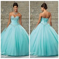 Wholesale 2016 Quinceanera Dresses Sweetheart Beaded Crystal Organza Ball Gown Quinceanera Gowns With Lace Up Back
