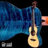 Wholesale Concert Ukulele Solid spruce Inches bule maple Ukulele High quality Electric strings mini Guitar Hawaii Ukulele Bag