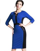 Wholesale 2016 hot style in Europe and the sleeve of cultivate one s morality fashion women s clothing collar stitching in the dress A1627 pencil skir