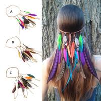 Estilos de trenzar el pelo de la muchacha Baratos-estilo de Bohemia accesorios de las mujeres niñas pavo real venda de la pluma hippie de pelo mujer india headdress banda de pelo cuerda de la trenza Cabeza B580