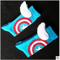 acrylic films - USA NEW Men Women handmade blue Captain America with wings star Film Fans Skateboarding Sport long Socks
