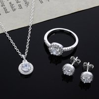 Wholesale China Lady Fashion Suit - 1Set Necklace Ring Earrings Suit Fashion Women Lady Wedding Hot Silver Crystal Necklace Earring Ring Jewelry Set
