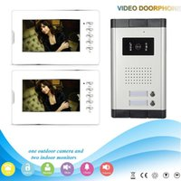 Wholesale Free DHL Shipping silver inch screen intercom system wire color video door phonefor villa