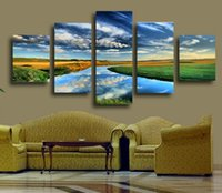 abstract nature pictures - 5 Panels Nature Landscape Canvas Print Painting Modern Canvas Wall Art for Wall Decor and Home Decoration Artwork F