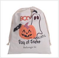 Wholesale 2016 Halloween Canvas bags Children shopping bags cotton Drawstring Bag With Pumpkin devil spider print Hallowmas Gifts Sack Bags styles
