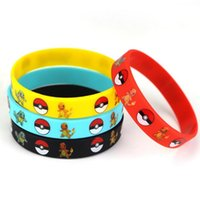 amber titanium - Poke Bracelets Pocket Monster Pikachu silicone wristband Soft Silicone Wrist Straps Kids Children Gifts Christmas gift