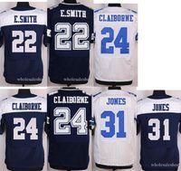 Wholesale Cheap Elite Football Stitched Cowboys Draft Ezekiel Elliott Smith Jones Claiborne White Blue Football Jerseys Mix Order