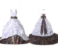 big satin bow - 2016 New Style Camo Wedding Dresses Backless Wedding Dress Cheap Bridal Gowns Vestido Custom Court Train Sash Big Bow High Quality Fashion