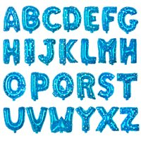 baby shower stars - Blue Star Dotted Alphabet Aluminum Foil Balloon Letters Wedding Christmas Birthday Baby Shower Party Decoration Supplies BA004
