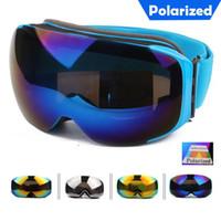Wholesale Polarized Ski Goggles Magnets Installed Lens Anti burst Anti fog Big Spherical Snowboard Glasses Wear Over RX Glasses for Skiing