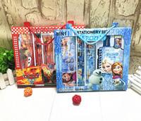 Wholesale Cartoon Stationery Set Student Supplie Pieces Sets Kids Gift Box Toys Frozen Hello Kitty Pencil Case Sharpener Eraser Ruler Notebook