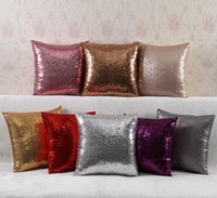 Wholesale Bead Embroidered Sequin Solid color mermaid Pillow Cover Glamour Square Pillow Case Cushion Cover Home Sofa Car Decor Pillow Covers cm