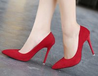 Wholesale Women Pumps New Fashion Professional OL Shoes Pointed Toe Slip On Solid High Thin Heels Ladies Shoes