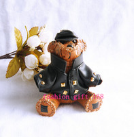 Wholesale Fashion animal leather bear bag charm keychain key chain key Holder Keyfob d bear keyring Bag accessories