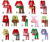 american christmas lights - 2017 infant xmas elk outfit girls christmas tree deer cartoon t shirt ruffle pants sets children polka dot tops color choose free