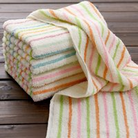 Wholesale Manufacturers Selling Multicolor Cotton To Cotton Satin Towel Thickening Stripe Face Towel g cm cm HY1211