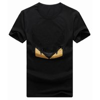 Wholesale Men Top IT Brand Printed Crystal quot MONSTER EYE quot T Shirt Hotfix Rhinestone Tshirt Plus Size S XL O Neck Jersey Casual Tee Mens