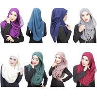 Wholesale Two pieces a Set Muslim Headscarf Hijab Veil Lazy Monochrome Scarf Hat Cap Muslim Headscarf Muslim Hijab Wraps