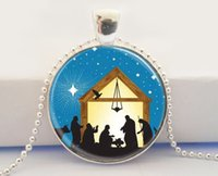 american nativity - Christmas Jewelry Star of Bethlehem Three Wisemen Nativity Scene Glass Cabochon Glass Picture Pendant