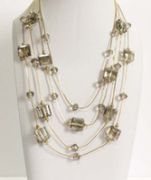 Wholesale Round and square glass beads layered necklace rows glass beads station necklace smokey topaz and champagne glass beads statement necklace