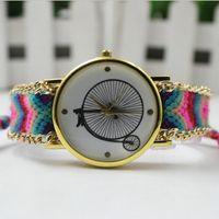 bicycle dress - 2016 Bicycle Dial Wristwatch Women Handmade Braided Friendship Bracelet Watch New arrival Ladies Quartz Gold Dress Watch Colors