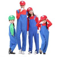 anime costumes kids - Super Mario Brother Clothes Kids Halloween Costumes Boys And Girls Clothing Stage Role Playing Red Green Colors