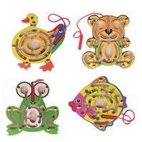 Wholesale Magnetic Maze Childhood Educational Wooden Toys Puzzle Intellectual Creativity Games Small Pen Labyrinth for Kids Children